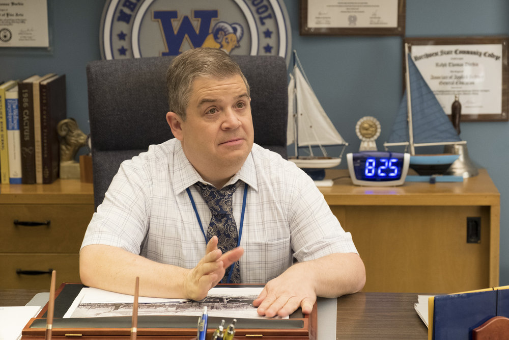 "A.P. BIO -- ""Drenching Dallas"" Episode 113 -- Pictured: Patton Oswalt as Principal Durbin -- (Photo by Colleen Hayes/NBC)"