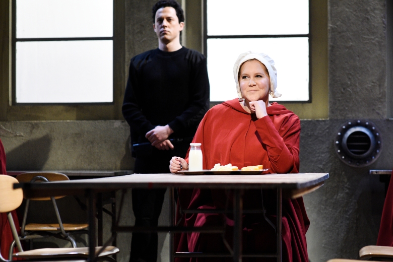 "SATURDAY NIGHT LIVE -- ""Amy Schumer"" Episode 1745 -- Pictured: Amy Schumer as Offred during ""New Hulu Show"" in Studio 8H on Saturday, May 12, 2018 -- (Photo by: Will Heath/NBC)"
