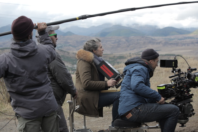"Director Eva Husson and DP Mattias Troelstrup shooting ""Girls of the Sun"""