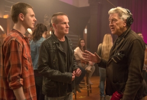 Jake Wardle, James Marshall and David Lynch behind the scenes of Twin Peaks. Photo: Suzanne Tenner/SHOWTIME