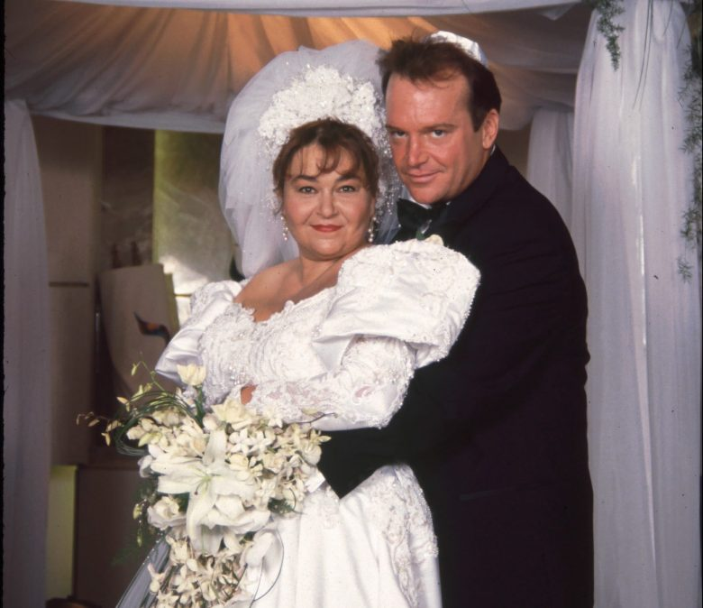 Roseanne Barr and Tom Arnold Wedding PortraitArchive imageJune 23, 1991 - Los Angeles, CARoseanne Barr and Tom Arnold Wedding Portrait .Photo®Berliner Studio/BEImages
