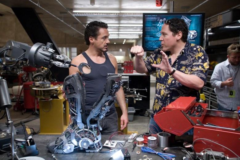 "Jon Favreau directs Robert Downey Jr. in ""Iron Man"""