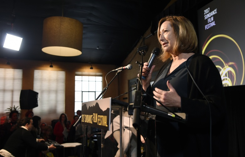 Keri Putnam, executive producer of the Sundance Institute, addresses the audience at the Women at Sundance Brunch during the 2017 Sundance Film Festival, in Park City, Utah2017 Sundance Film Festival - Women at Sundance Brunch, Park City, USA - 23 Jan 2017