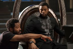 "No Merchandising. Editorial Use Only. No Book Cover UsageMandatory Credit: Photo by Marvel/Disney/Kobal/REX/Shutterstock (9360960cr)Ryan Coogler, Chadwick Boseman""Black Panther"" Film - 2018"