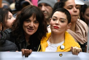 "Asia Argento (S) and Rose McGowan during the event organized in Rome by the feminist collective ""Not one less""International Women's Day, Rome, Italy - 08 Mar 2018"