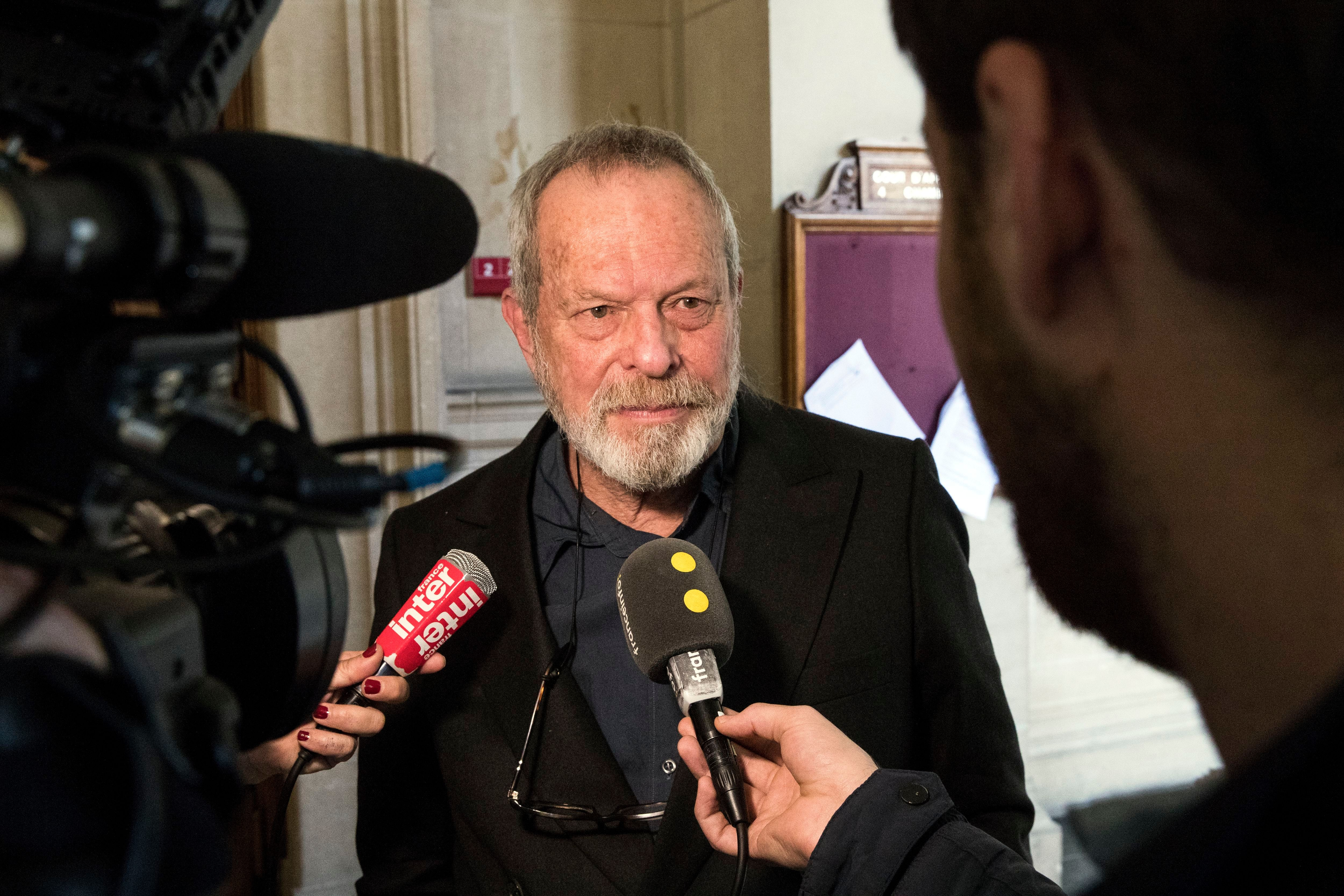 Terry GilliamBritish director Terry Gilliam's hearing at Court of Appeal in Paris, France - 04 Apr 2018 US-born British director Terry Gilliam answers questions from the media as he leaves the Court of Appeal after a hearing, in Paris, France, 04 April 2018. The case sees director Terry Gilliam and Portuguese producer Paulo Branco battling for the rights to the fillm 'The Man Who Killed Don Quixote'.