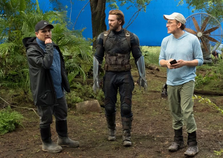 "No Merchandising. Editorial Use Only. No Book Cover UsageMandatory Credit: Photo by Marvel/Disney/Kobal/REX/Shutterstock (9641147o) Joe Russo, Chris Evans, Anthony Russo ""Marvel's Avengers: Infinity War"" Film - 2018"