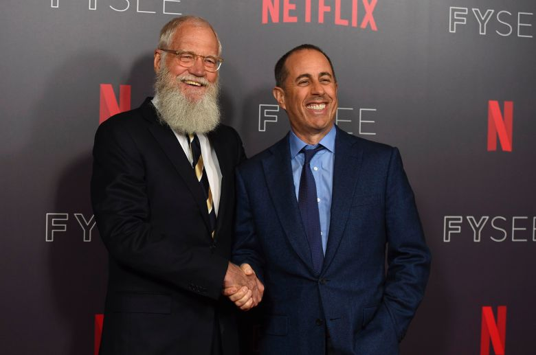 """David Letterman, Jerry Seinfeld. David Letterman, left, and Jerry Seinfeld arrive at the """"My Next Guest Needs No Introduction with David Letterman"""" FYC event, in Los Angeles""""My Next Guest Needs No Introduction with David Letterman"""" FYC Event, Los Angeles, USA - 07 May 2018"""