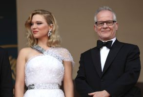 Lea Seydoux, Thierry Fremaux. Juty member Lea Seydoux, left, and Cannes Film Festival director Thierry Fremaux pose for photographers upon arrival at the opening ceremony of the 71st international film festival, Cannes, southern France2018 Opening Ceremony Red Carpet, Cannes, France - 08 May 2018
