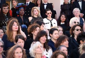 Lea Seydoux, Kristen Stewart and actresses take part in the #metoo #timesup movement'Girls of the Sun' premiere, 71st Cannes Film Festival, France - 12 May 2018