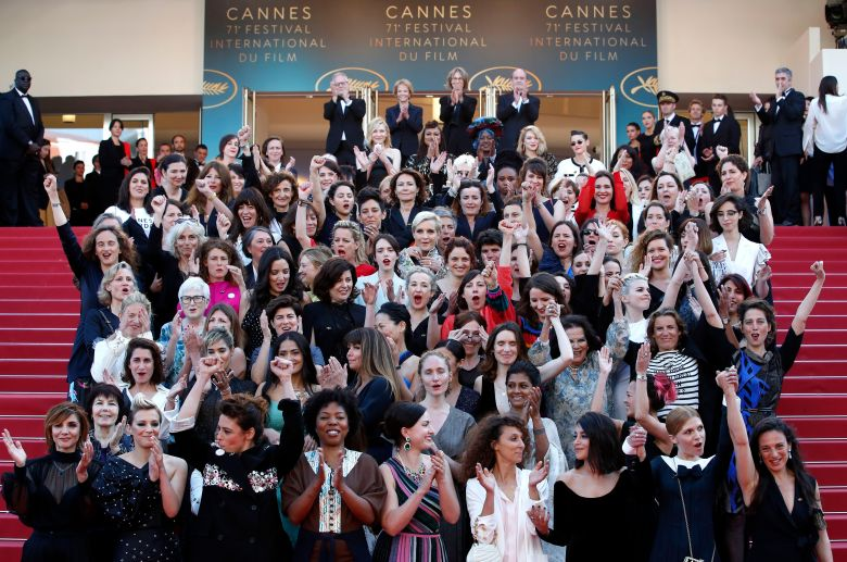 Actresses and female directors stand on the steps of the red carpet in protest of the lack of female filmmakers honored throughout the history of the festival at the screening of 'Girls of the Sun (Les Filles du Soleil)' during the 71st annual Cannes Film Festival, in Cannes, France, 12 May 2018. The movie is presented in the Official Competition of the festival which runs from 08 to 19 May.Girls of the Sun Premiere - 71st Cannes Film Festival, France - 12 May 2018