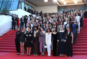Eighty two film industry professionals stand on the steps of the Palais des Festivals to represent, what they describe as pervasive gender inequality in the film industry, at the 71st international film festival, Cannes, southern France, . Since the Cannes Festival was created, 82 films directed by women have been included in official competition, whilst 1,645 films directed by men were selected2018 50/50 2020, Cannes, France - 12 May 2018