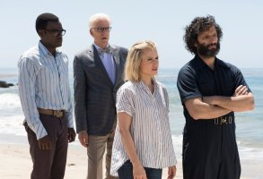 "THE GOOD PLACE -- ""Derek"" Episode 208 -- Pictured: (l-r) William Jackson Harper as Chidi, Ted Danson as Michael, Kristen Bell as Eleanor, Jason Mantzoukas as Derek -- (Photo by: Colleen Hayes/NBC)"