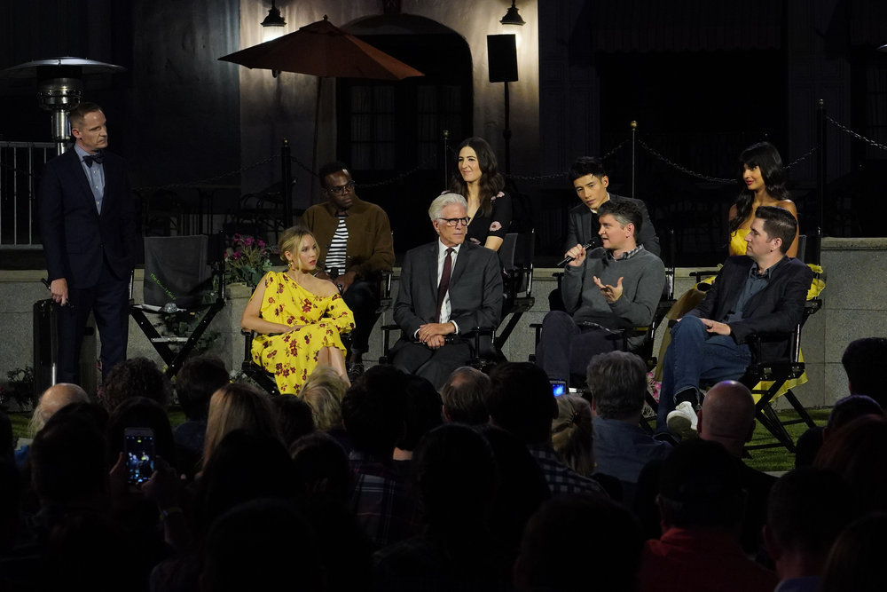 "THE GOOD PLACE -- ""2018 For Your Consideration Event"" -- Pictured: (l-r) Marc Jackson, Kristen Bell, William Jackson Harper, Ted Danson, D'Arcy Carden, Michael Schur, Manny Jacinto, Drew Goddard, Jameela Jamil -- (Photo by: Paul Drinkwater/NBC)"