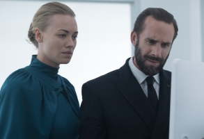 "THE HANDMAID'S TALE -- ""June"" -- Episode 201 -- Offred reckons with the consequences of a dangerous decision while haunted by memories from her past and the violent beginnings of Gilead. Serena Joy (Yvonne Strahovski) and Commander Waterford (Joseph Fiennes), shown. (Photo by:George Kraychyk/Hulu)"