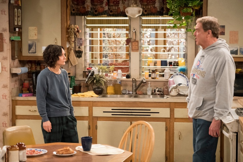 """ROSEANNE - """"Netflix & Pill"""" - After celebrating their 45th anniversary, Roseanne reveals to Dan a bigger problem with her bad knee. Meanwhile, Crystal announces her retirement as a waitress at the casino, and Becky and Darlene compete for the job which has full-time benefits, on the eighth episode of the revival of """"Roseanne,"""" TUESDAY, MAY 15 (8:00-8:30 p.m. EDT), on The ABC Television Network. (ABC/Adam Rose)SARA GILBERT, JOHN GOODMAN"""