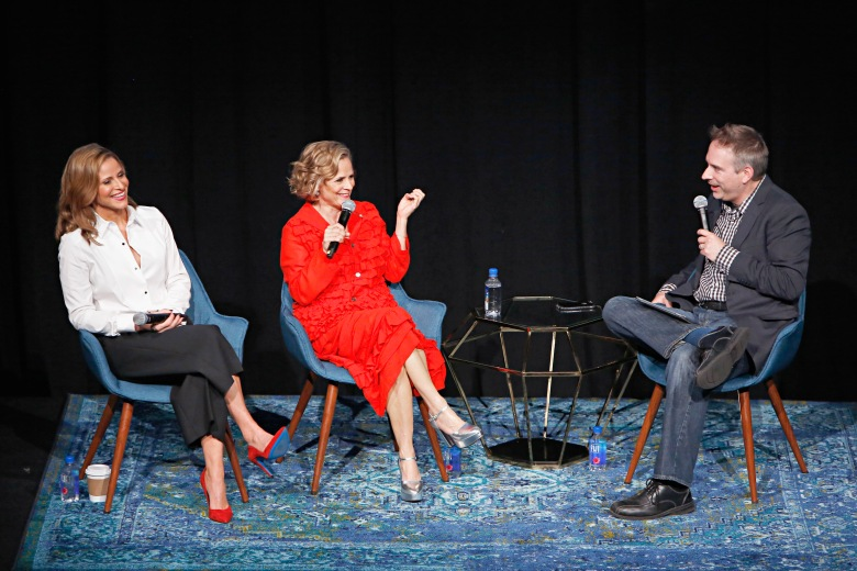 "LOS ANGELES, CA - MAY 22: (L-R) Actors Andrea Savage and Amy Sedaris, and IndieWire Executive Editor Michael Schneider speak onstage during the FYC Event for truTV's ""At Home with Amy Sedaris"" & ""I'm Sorry"" at NeueHouse Hollywood on May 22, 2018 in Los Angeles, California. 361838. (Photo by Rachel Murray/Getty Images for truTV)"