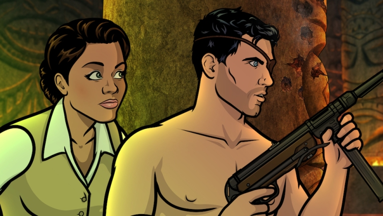 """ARCHER: Danger Island -- """"A Discovery"""" -- Season 9, Episode 8 (Airs Wednesday, June 13, 10:00 p.m. e/p) Pictured (l-r): Princess Lanaluakalani (voice of Aisha Tyler), Sterling Archer (voice of H. Jon Benjamin). CR: FXX"""