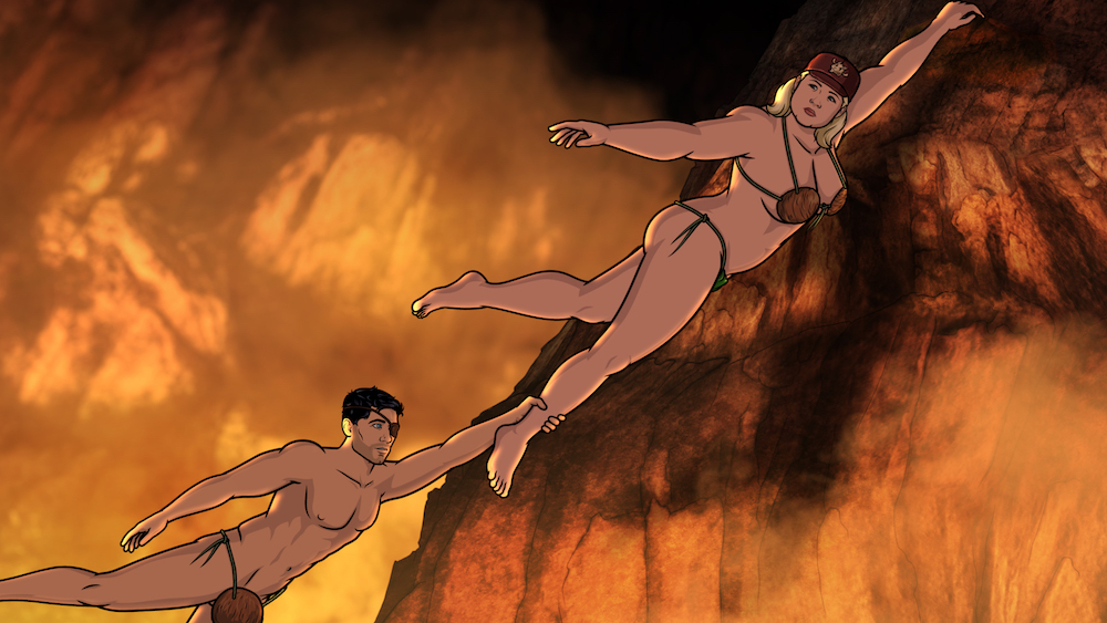 "ARCHER: Danger Island -- ""A Discovery"" -- Season 9, Episode 8 (Airs Wednesday, June 13, 10:00 p.m. e/p) Pictured (l-r): Sterling Archer (voice of H. Jon Benjamin), Pam Poovey (voice of Amber Nash). CR: FXX"