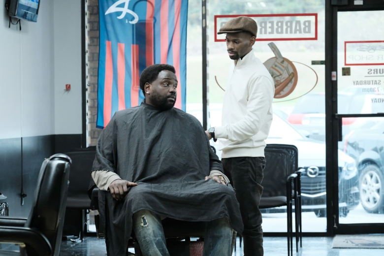 "ATLANTA Robbin' Season -- ""Barbershop"" -- Season Two, Episode 5 (Airs Thursday, March 29, 10:00 p.m. e/p) Pictured (l-r): Brian Tyree Henry as Alfred Miles, Robert S. Powell III as Bibby. CR: Guy D'Alema/FX"