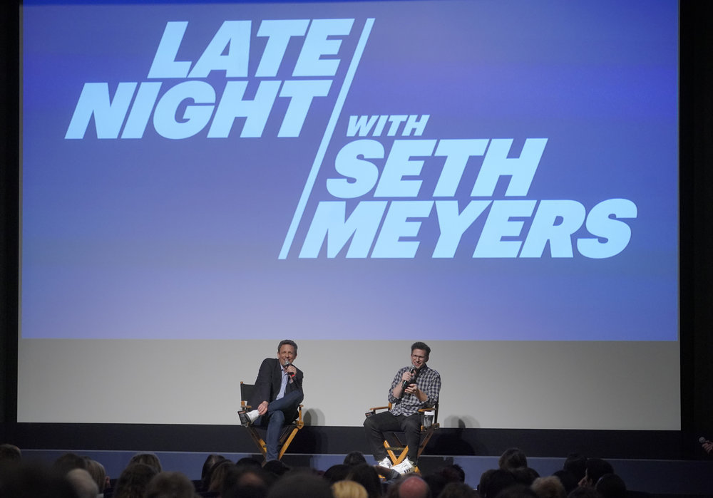 "LATE NIGHT WITH SETH MEYERS -- ""An Evening with Seth Meyers"" -- Pictured: (l-r) Seth Meyers, moderator Andy Samberg at the Writer's Guild Theater, Beverly Hills, Ca. on June 6, 2018 -- (Photo by: Paul Drinkwater/NBC)"