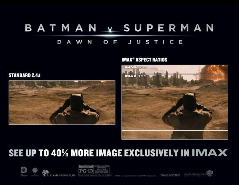 """""""Batman vs. Superman"""" IMAX aspect ratio comparison"""