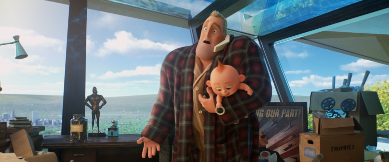 "EVERYTHING'S FINE – In ""Incredibles 2,"" Bob navigates life at home while Helen is tackling a new mission to bring back Supers. But life at home gets complicated when Bob discovers that Jack-Jack has powers. Directed by Brad Bird and produced by John Walker and Nicole Paradis Grindle, ""Incredibles 2"" opens in U.S. theaters on June 15, 2018. ©2018 Disney•Pixar. All Rights Reserved."