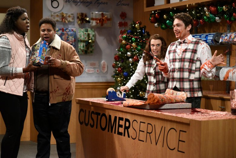 "SATURDAY NIGHT LIVE -- Episode 1733 -- Pictured: (l-r) Leslie Jones, Kenan Thompson, Kate McKinnon, James Franco during ""Gift Wrap"" in Studio 8H on Saturday, December 9, 2017 -- (Photo by: Will Heath/NBC)"