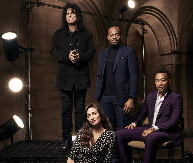 JESUS CHRIST SUPERSTAR LIVE IN CONCERT -- Season: 2018 -- Pictured: (l-r) -- Alice Cooper, Sara Bareilles, Brandon Victor Dixon, John Legend -- (Photo by: Virginia Sherwood/NBC)