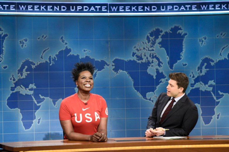 "SATURDAY NIGHT LIVE -- Episode 1739 ""Charles Barkley"" -- Pictured: (l-r) Leslie Jones, Colin Jost during ""Weekend Update"" in Studio 8H on Saturday, March 3, 2018 -- (Photo by: Will Heath/NBC)"