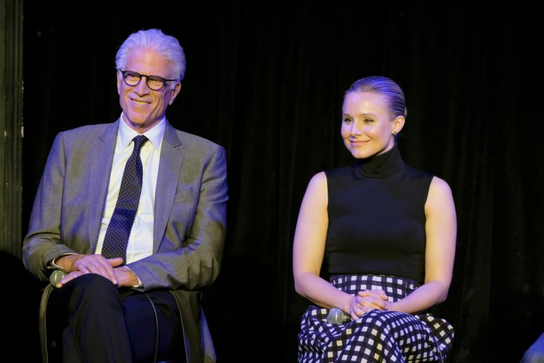 "THE GOOD PLACE -- ""FYC @ UCB"" -- Pictured: (l-r) Ted Danson, Kristen Bell at UCB Sunset Theatre on June 19, 2018 -- (Photo by: Justin Lubin/NBC)"