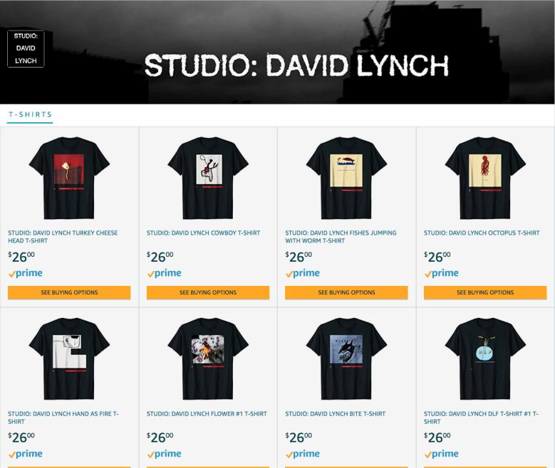David Lynch Selling T-Shirts on Amazon  36b40b1df