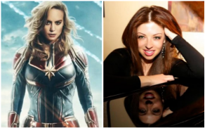 """Brie Larson as """"Captain Marvel"""" and composer Pinar Toprak"""