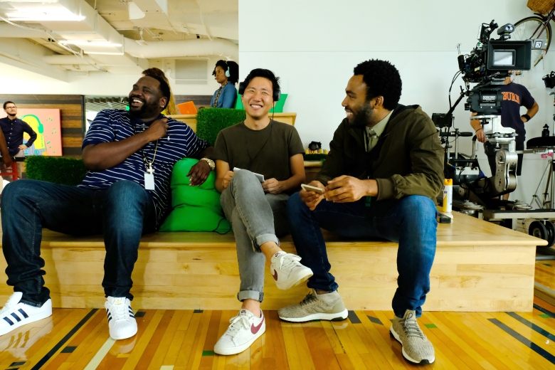 "Brian Tyree Henry, Hiro Murai and Donald Glover on the set of ""Atlanta"""