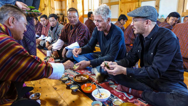 "Anthony Bourdain and Darren Aronfosky in Bhutan for ""Parts Unknown"""