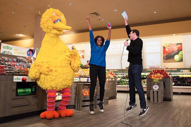 Michelle Obama, Billy Eichner, and Big Bird