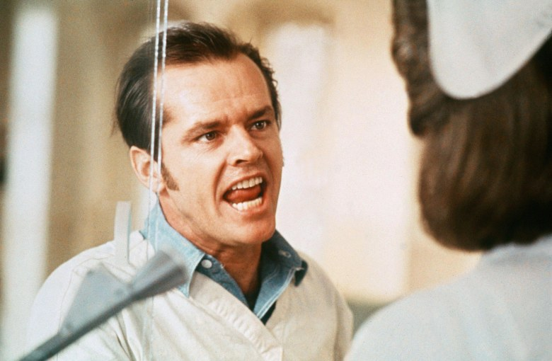 No Merchandising. Editorial Use Only. No Book Cover Usage.Mandatory Credit: Photo by United Artists/Fantasy Films/Kobal/REX/Shutterstock (5886106ah) Jack Nicholson One Flew Over The Cuckoo's Nest - 1975 Director: Milos Forman United Artists/Fantasy Films USA Scene Still Drama Vol au-dessus d'un nid de coucou