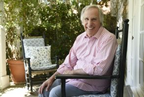 """Henry Winkler poses for a portrait at his home in Los Angeles. Winkler stars with George Foreman, Terry Bradshaw and William Shatner in """"Better Late Than Never,"""" a four-episode reality series documenting their 35-day trip through Japan, Korea, Hong Kong and ThailandHenry Winkler Portrait Session, Los Angeles, USA"""
