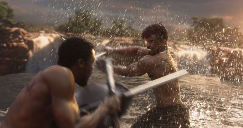"No Merchandising. Editorial Use Only. No Book Cover UsageMandatory Credit: Photo by Marvel/Disney/Kobal/REX/Shutterstock (9360960cz)Chadwick Boseman, Michael B. Jordan""Black Panther"" Film - 2018"