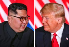 EDITORIAL USE ONLYMandatory Credit: Photo by KEVIN LIM/THE STRAITS TIMES/SPH/EPA-EFE/REX/Shutterstock (9710217g)Kim Jong-unUS and North Korea summit, Singapore - 12 Jun 2018(COMPOSITE) North Korean leader Kim Jong-un (L) and US President Donald J. Trump (R) react during their first one-on-one meeting, part of the historic summit, at the Capella Hotel on Sentosa Island, Singapore, 12 June 2018. The summit marks the first meeting between an incumbent US President and a North Korean leader.