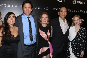 Yvonne Russo, Chaske Spencer, Susanna White, director, Michael Greyeyes and Jessica Chastain'Woman Walks Ahead' film screening, New York, USA - 26 Jun 2018