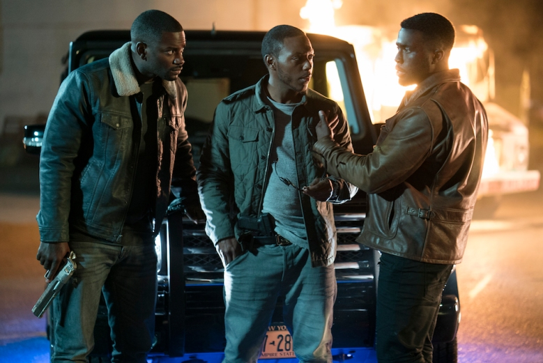 "(L to R) 7 & 7 (MO McRAE), Lorenzo (JERMEL HOWARD) and Dmitri (Y'LAN NOEL) in ""The First Purge."" Behind every tradition lies a revolution. This Independence Day, witness the rise of our country's 12 hours of annual lawlessness. Welcome to the movement that began as a simple experiment: ""The First Purge."""