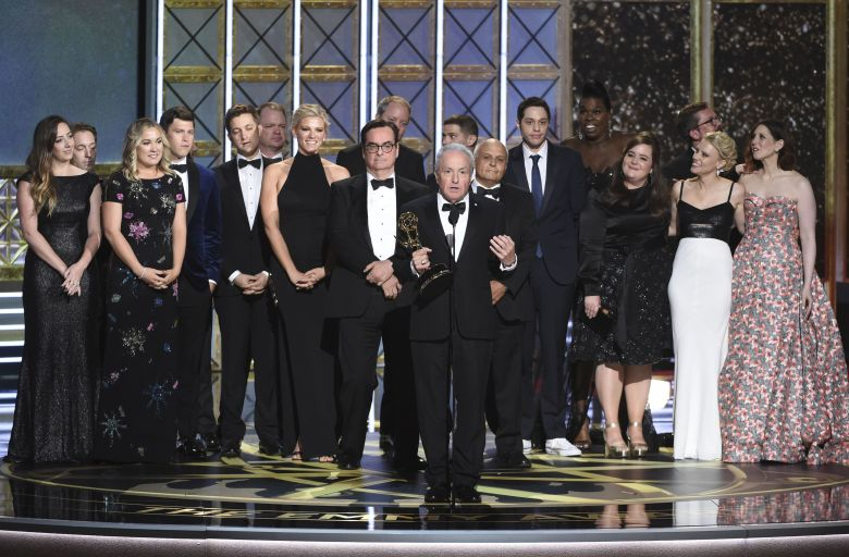 "Lorne Michaels and the cast of ""Saturday Night Live"" accept the award for outstanding variety sketch series for ""Saturday Night Live"" at the 69th Primetime Emmy Awards, at the Microsoft Theater in Los Angeles69th Primetime Emmy Awards - Show, Los Angeles, USA - 17 Sep 2017"