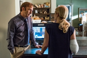 Bob Odenkirk as Jimmy McGill, Rhea Seehorn as Kim Wexler- Better Call Saul _ Season 4, Episode 6 - Photo Credit: Nicole Wilder/AMC/Sony Pictures Television