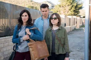 """CASUAL  -- """"Polytropos"""" - Episode 406 - Following a day of misguided decisions, Alex, Valerie, and Laura begin their overdue pilgrimage to Dawn's. But when their road trip takes an accidental turn, each faces an obstacle that tests their willpower in different ways. Valerie Meyers (Michaela Watkins), Alex Cole (Tommy Dewey) and Laura Meyers (Tara Lynne Barr) shown. (Photo by: Greg Lewis/Hulu)"""