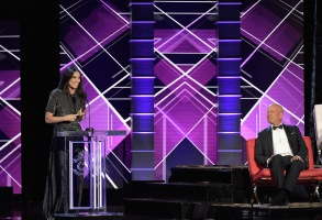LOS ANGELES, CA - JULY 14:  Bruce Willis (R) reacts while Demi Moore speaks onstage during the Comedy Central Roast of Bruce Willis at Hollywood Palladium on July 14, 2018 in Los Angeles, California.  (Photo by Neilson Barnard/VMN18/Getty Images For Comedy Central)