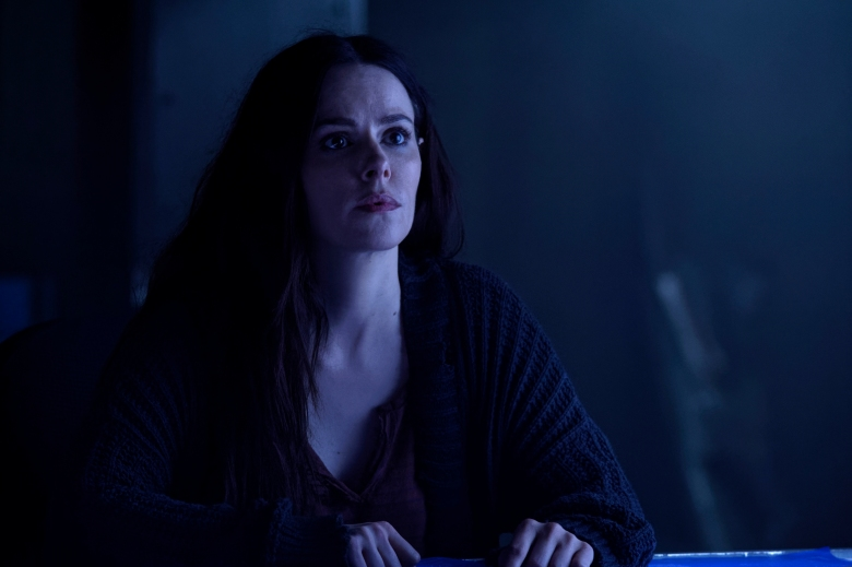 "12 MONKEYS -- ""The Beginning Part I"" Episode 410 -- Pictured: Emily Hampshire as Jennifer Goines -- (Photo by: Ben Mark Holzbert/Syfy)"