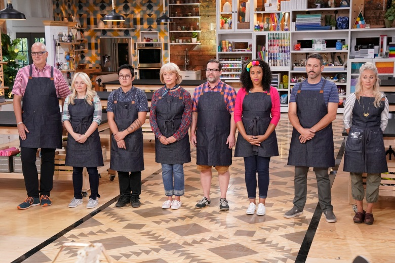"MAKING IT -- ""You Crafty"" Episode 101 -- Pictured: (l-r) Jeff, Jo, Khiem, Jemma, Robert, Amber, Billy, Nicole -- (Photo by: Paul Drinkwater/NBC)"