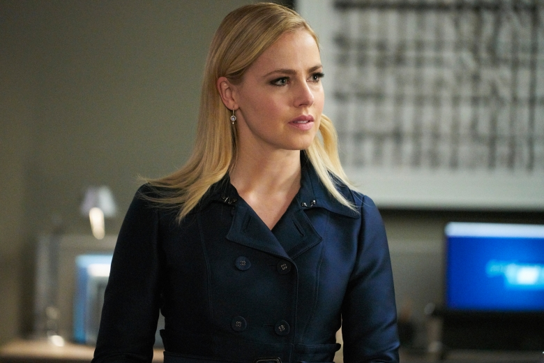 "SUITS -- ""Right-Hand Man"" Episode 801 -- Pictured: Amanda Schull as Katrina Bennett -- (Photo by: Ian Watson/USA Network)"