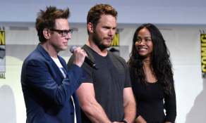 James Gunn, Chris Pratt, and Zoe Saldana